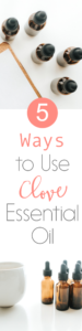 Clove essential oil has so many great therapeutic benefits due to its high antioxidant score (ranked number one among herbs and spices!). Here are 5 ways to use clove essential oil along with a diffuser blend recipe and an essential oil recipe for skin! Read now or pin for later! // www.simplyreeni.com