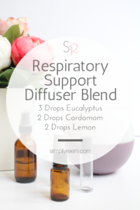 Are you looking for safe and effective natural respiratory support? Here is a great respiratory support essential oil diffuser blend to use during this time! It also has some other therapeutic benefits as well! Click to read more or pin for later! // via www.simplyreeni.com